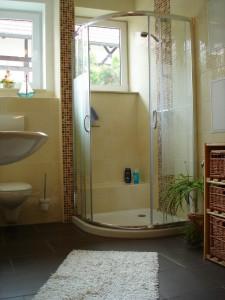 Das Badezimmer der Ferienwohnung mit Blick auf die Dusche